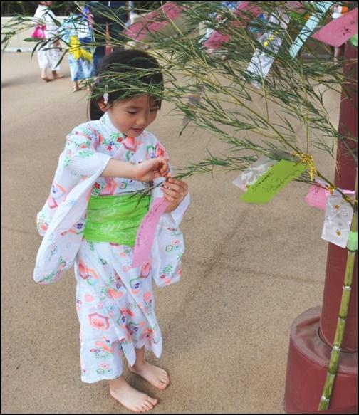 幼児の女の子が七夕を飾る画像