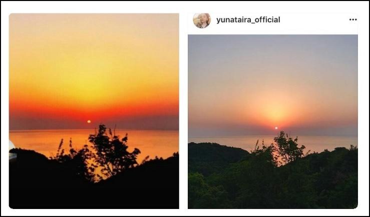 平祐奈と平野紫耀のインスタ夕焼けの画像