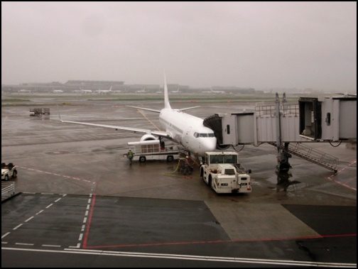 搭乗前の飛行機の画像