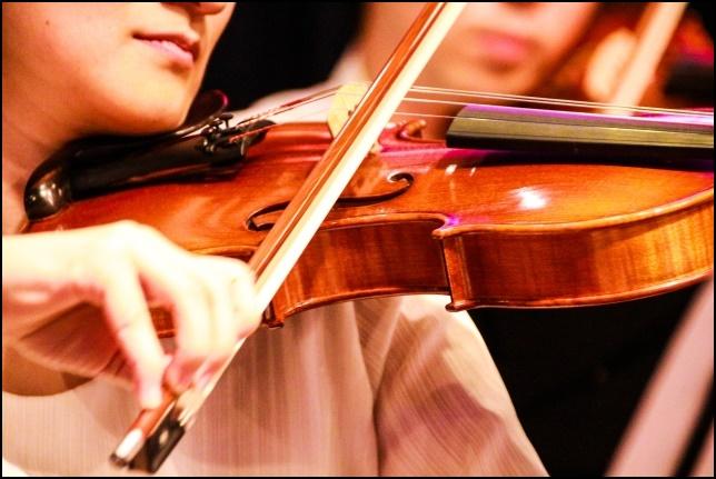 ヴァイオリンを弾く女性の画像